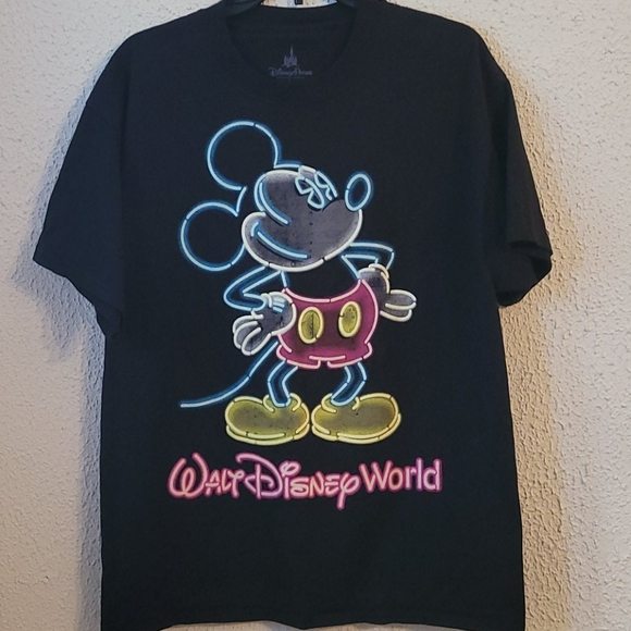 Disneyworld Mickey Mouse Neon T Shirt Men's Large